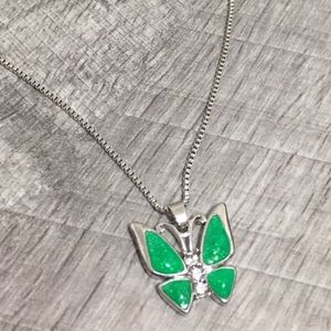 925 Silver Green Opal Butterfly Charm Necklace